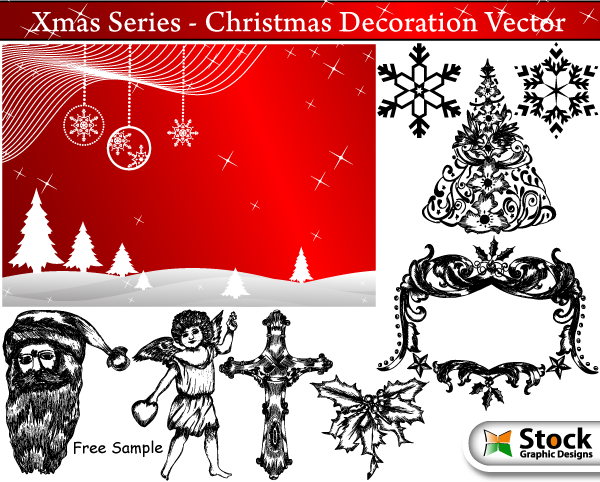 Free Vectors: Banner & Hand Drawn Xmas Decoration Pack | Stock Graphic Designs