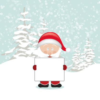 Free Santa Cartoon Holding Empty Board