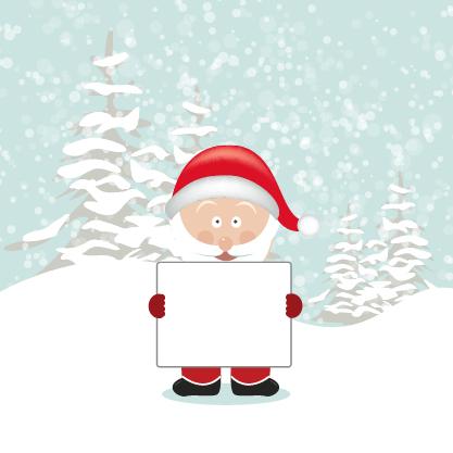 Free Santa Cartoon Holding Empty Board