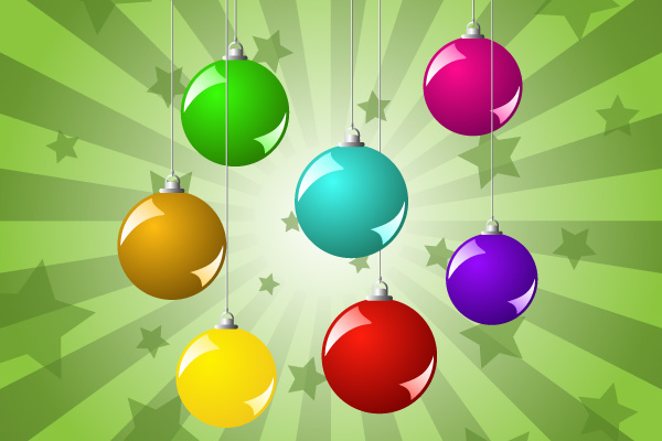 Free Glossy Colorful Christmas Ball Pack
