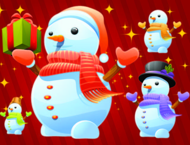 Free Vectors: Cute Winter Snowman Pack with Gifts | Topvectors
