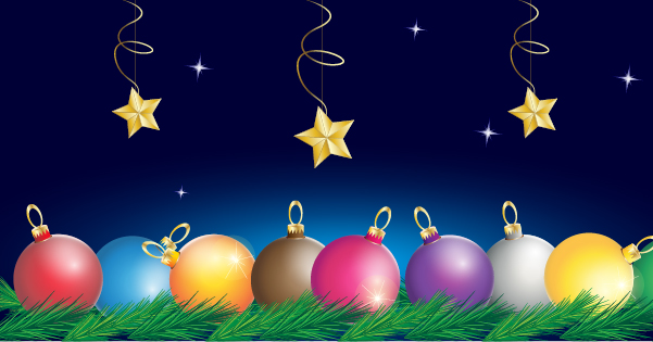 Free Colorful Balls with Tree Branches and Stars