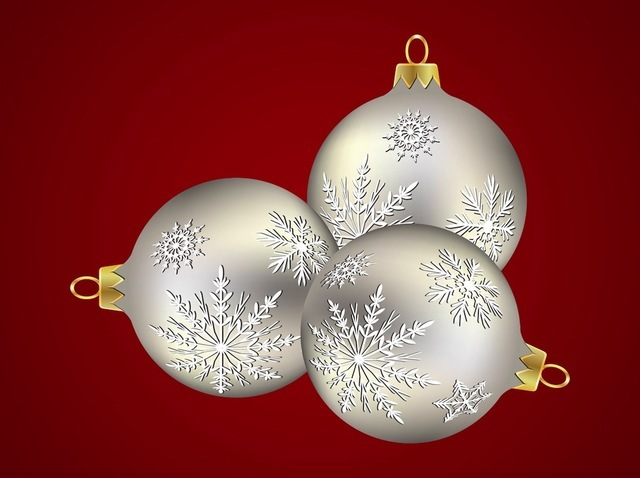 Free Silver Xmas Balls with Snowflake Decoration