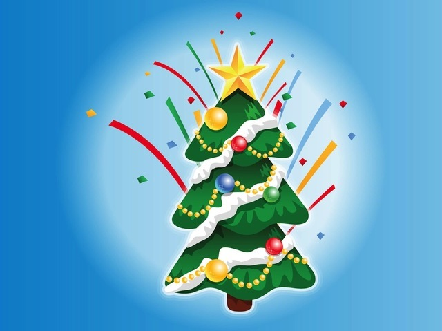 Free Vectors: Decorated Christmas Tree Cartoon | Artem
