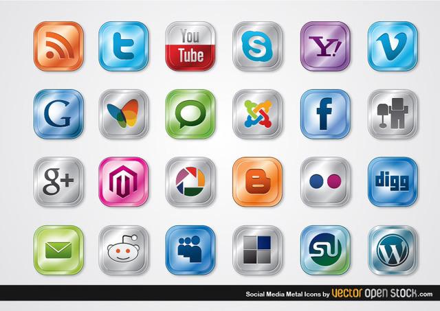 Free Vectors: Social Media Metal Icons | Vector Open Stock