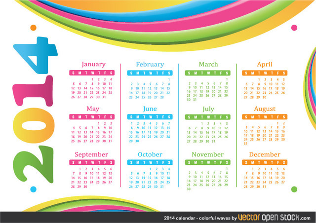 Free 2014 calendar - Colourful Waves