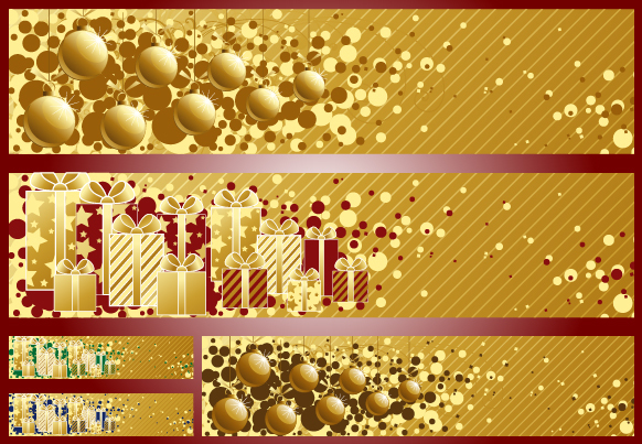 Free Vectors: 3 Golden Striped Christmas Banners | Artem