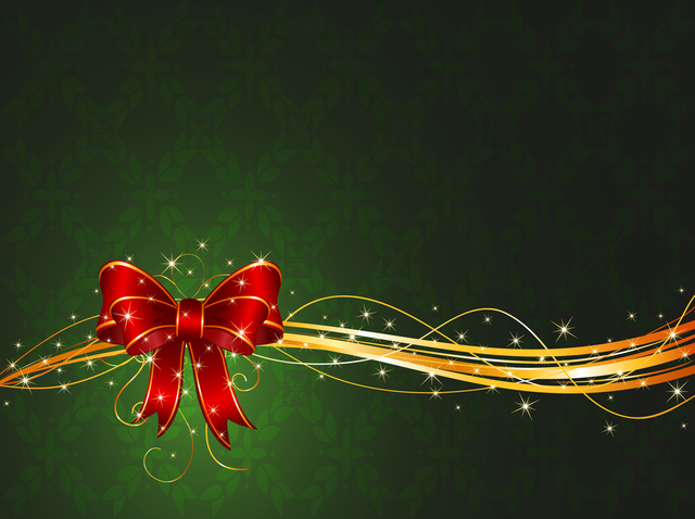 Free Christmas Ribbon with Stars & Swirls