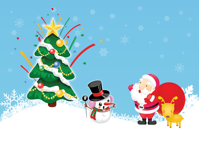 Free Funny Style Xmas Santa Claus and Snowman