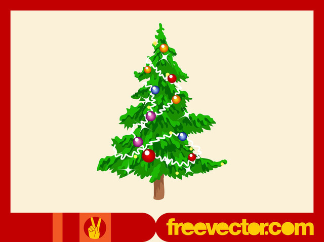 Free Decorative Multicolored Bauble Christmas Tree