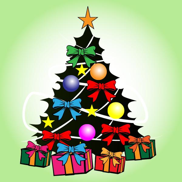 Free Vectors: Decorative Xmas Tree with Presents | VECTOR PORTAL