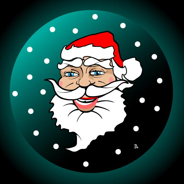 Free Funky Illustrated Santa Claus Face