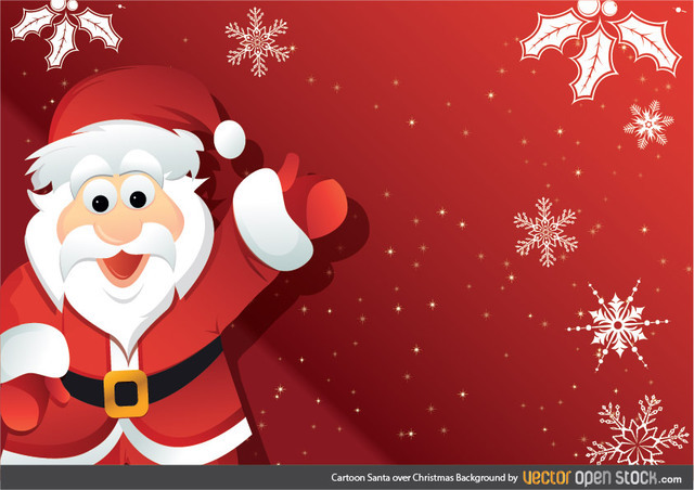 Free Vectors: Cartoon Santa over Christmas Background  | Vector Open Stock