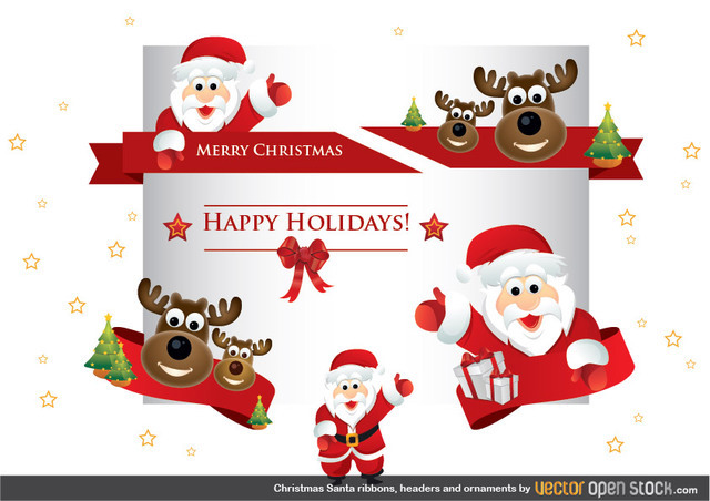 Free Christmas Santa ribbons, headers and ornaments