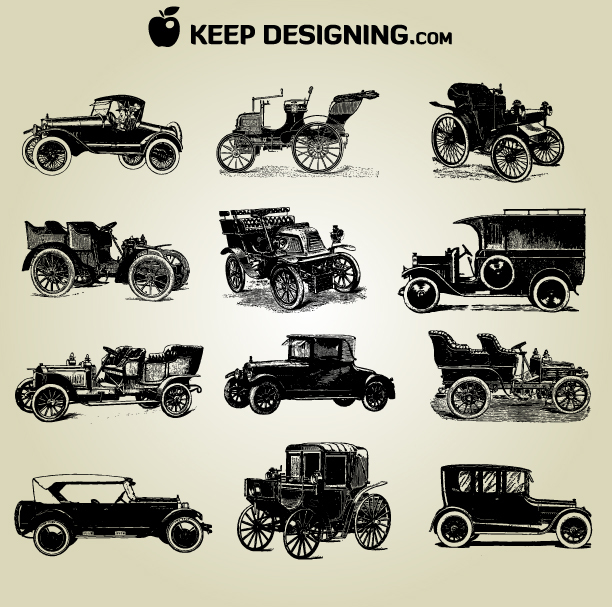 Free Vectors: Grungy Detail Vintage Car Pack | KeepDesigning