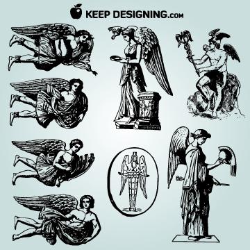 Free Vectors: Vintage Winged Angel Pack | KeepDesigning