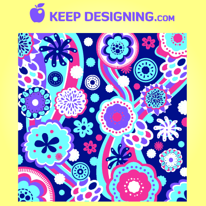 Free Funky Floral & Swirly Pattern Background