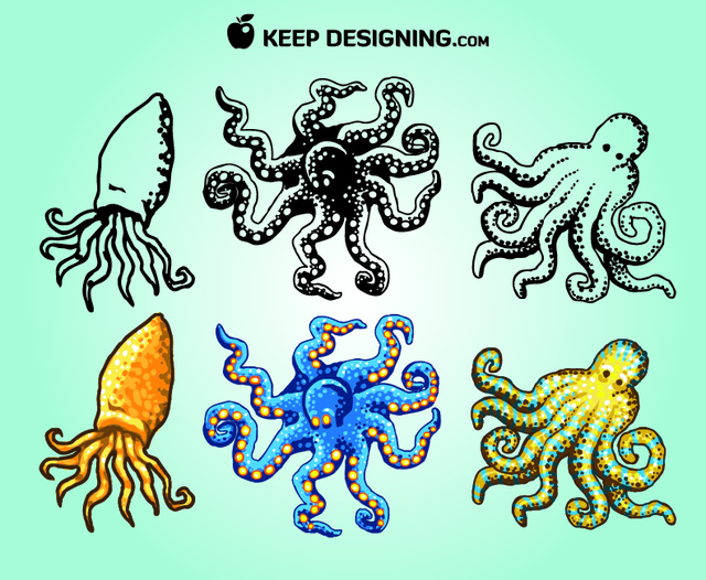 Free Funky Sketchy & Colored Octopus Pack