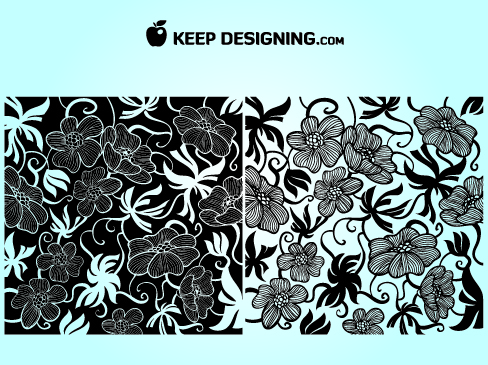 Free European Art Deco Floral Wallpaper
