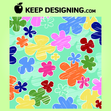 Free Kids Crayon Flower Pattern Wallpaper