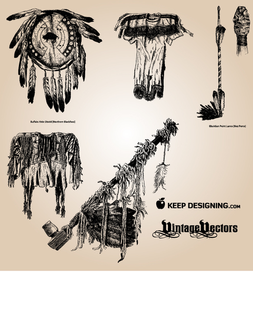 Free Vectors: Vintage Native American Object Pack | KeepDesigning