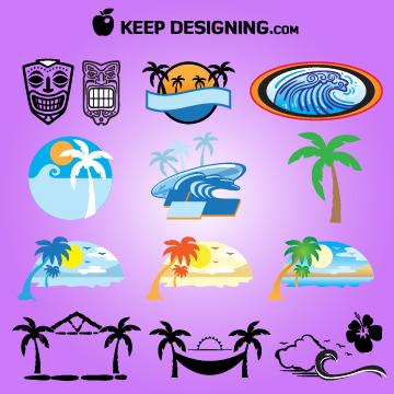 Free Vectors: Summer Island, Tiki Hut, Mask Set | KeepDesigning