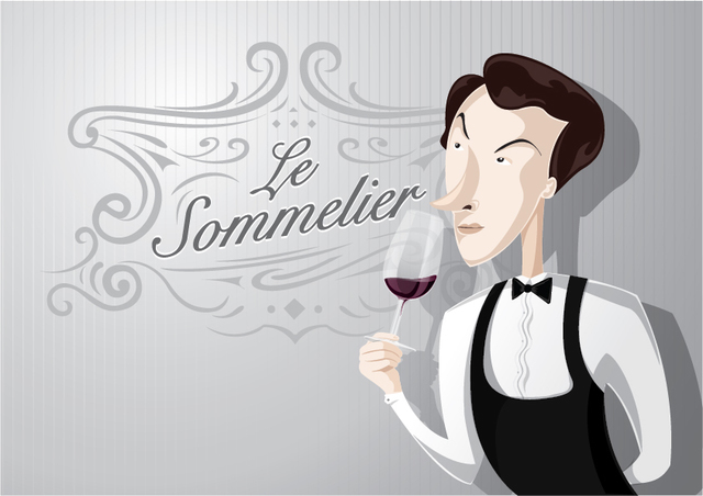 Free Sommelier cartoon smelling wine