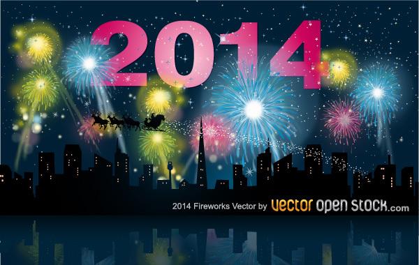 Free 2014 fireworks with city skyline