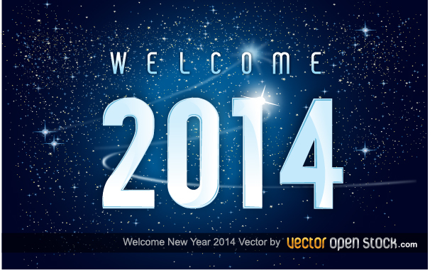 Free Welcome new year 2014 in space background