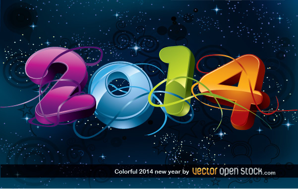 Free Colorful 2014 new year