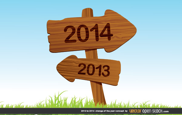 Free 2013 to 2014 change of the year concept