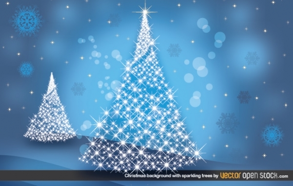 Free Christmas Background with Sparkling trees