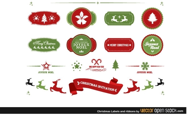 Free Christmas labels and ribbons