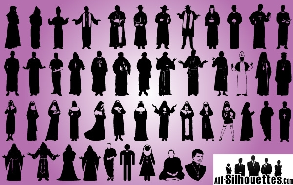 Free Priest and Robed Pack Silhouette