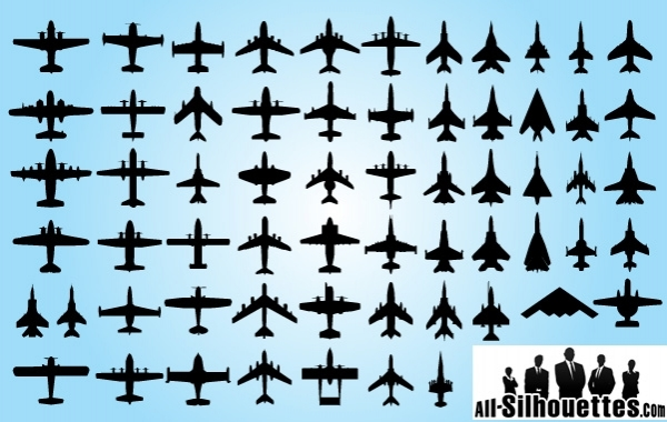 Free Top View of Airplane Pack Silhouette