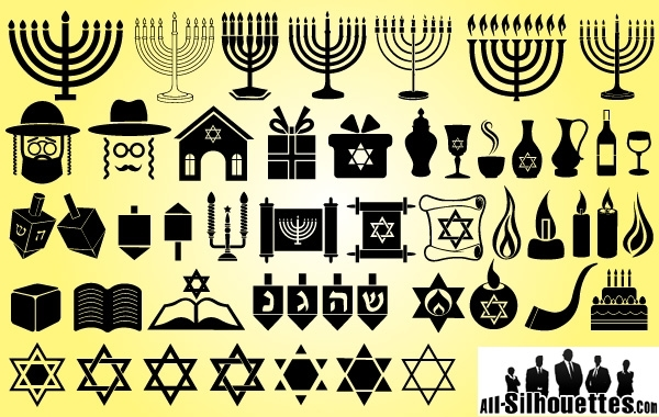 Free Vectors: Symbol Pack for Happy Hanukkah | Art | All-Silhouettes