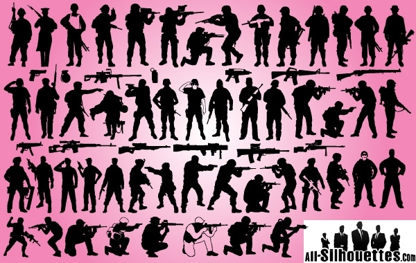 Free Vectors: Soldier & Weapon Pack Silhouette | All-Silhouettes