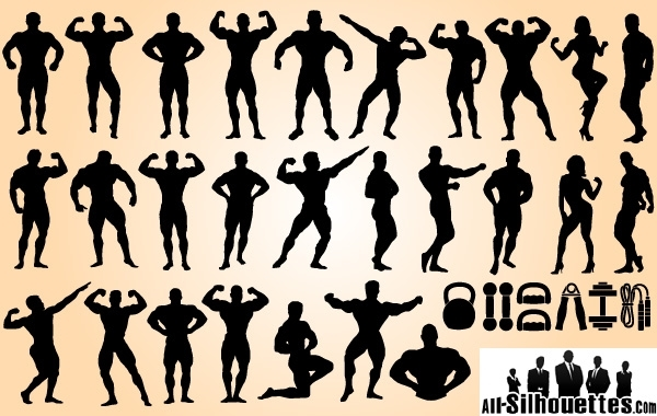 Free Vectors: Body Builder Set Silhouette | All-Silhouettes