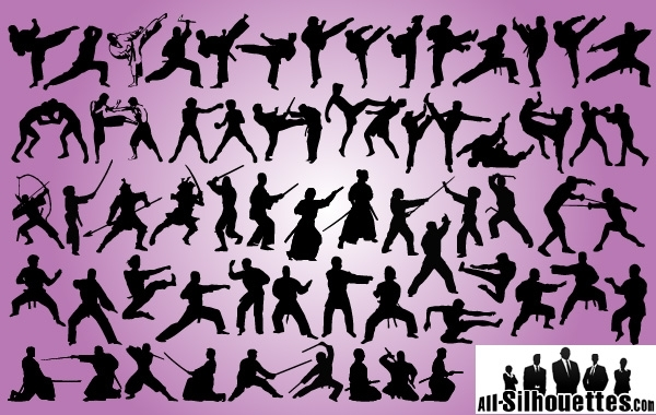 Free Vectors: Silhouette Martial Art Pack | All-Silhouettes