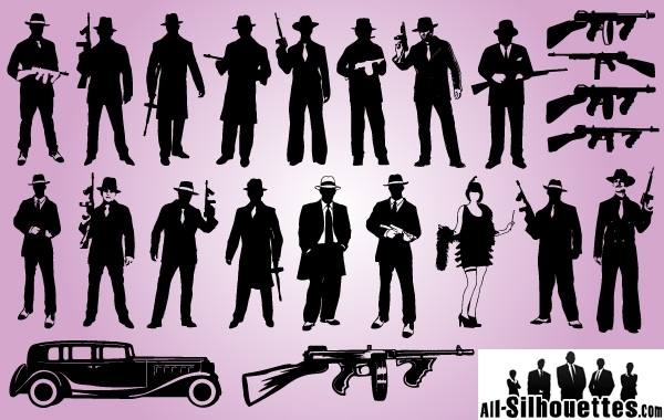 Free Vectors: Silhouette Gangster Pack | All-Silhouettes