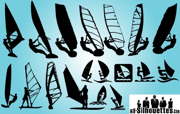 Free Windsurfing Pack Silhouette
