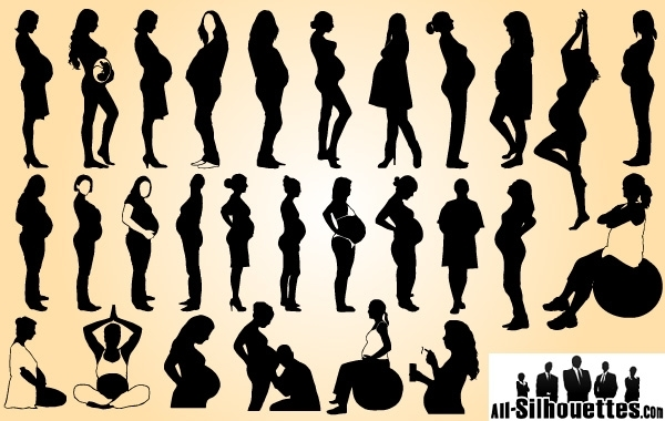 Free Vectors: Pregnant Ladies Pack Silhouette | All-Silhouettes