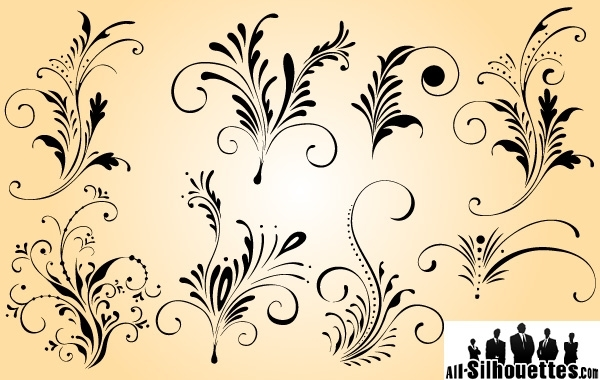 Free Curly Elegant Floral Ornament Set