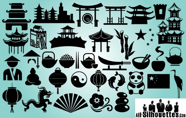 Free Vectors: China Sing & Symbol Pack Silhouette | All-Silhouettes