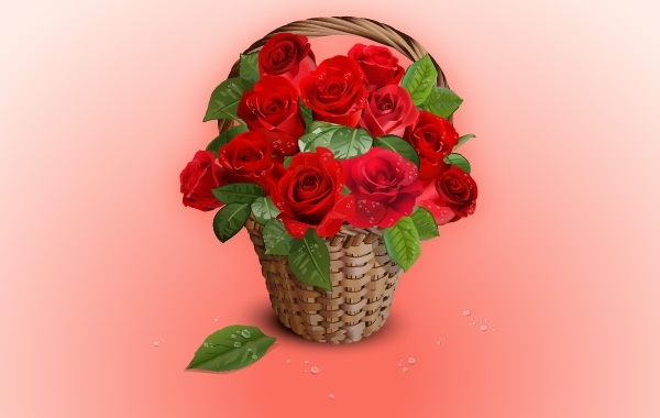 Free Realistic Bunch of Rose in Basket