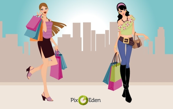 Free Vectors: Comic Style Fashion Shopping Girls | Pixeden
