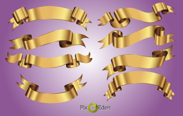 Free Decorative Golden Ribbon Pack