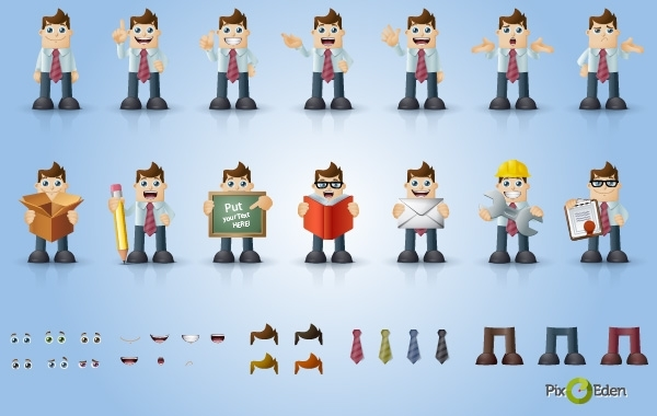 Free Comic Businessman Character Pack