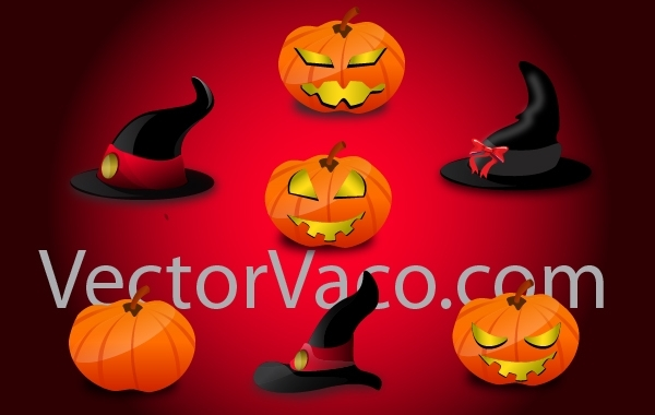 Free Witch Hats and Pumpkins for Halloween