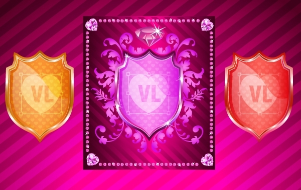 Free Heraldic Shield with Floral and Diamonds